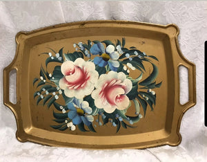 Vintage Gold Toleware tray with pink roses