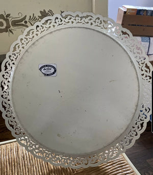 Round White Toleware Tray by Nashco - vintage
