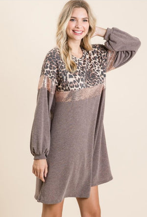 Leopard print gold bling dress - long sleeves