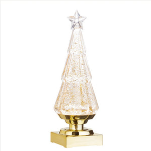 Lighted tree with GOLD swirling glitter