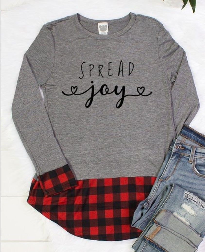 Spread Joy buffalo check top - women's long sleeve top