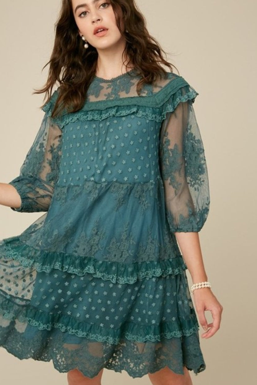 Lace Tiered Dress - Green