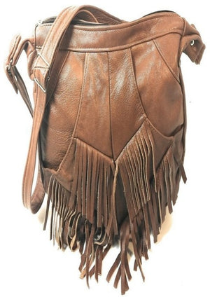 Genuine Leather Fringe Hobo Bag - Camel