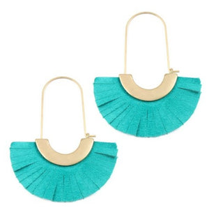 Gold and Turquoise Leather Fan Earrings