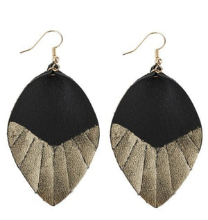 Gold Dipped Black Leather Earrings