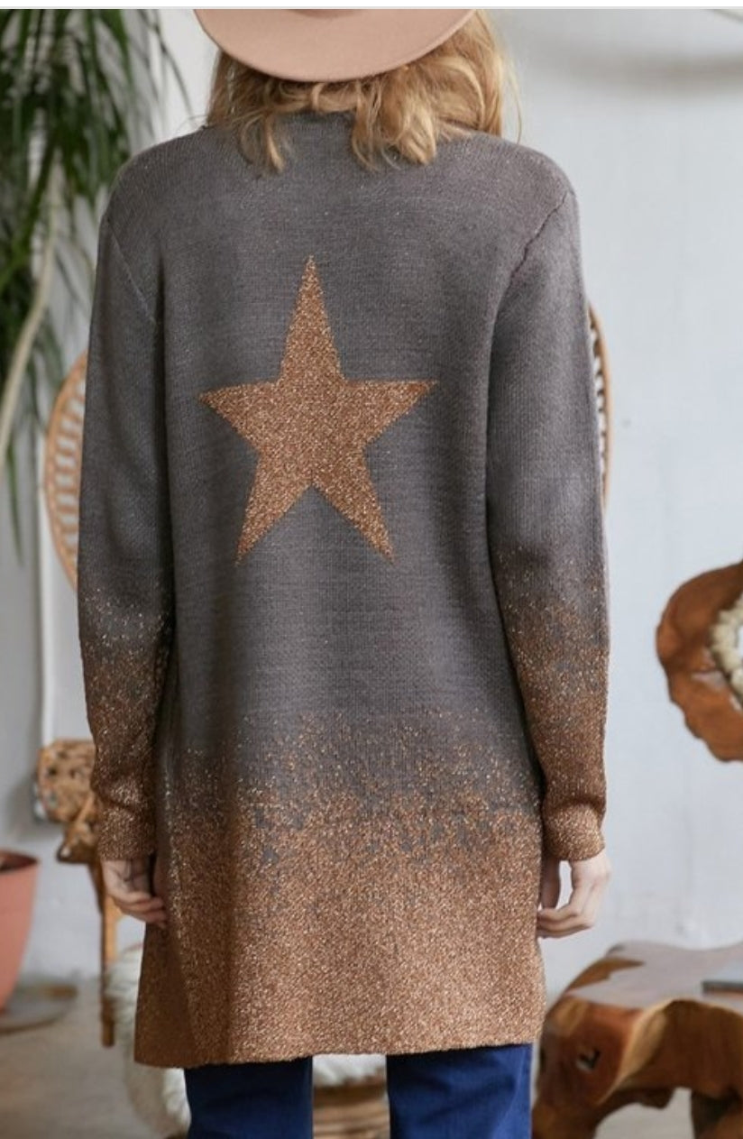 Star Sweater Cardigan w/ pockets