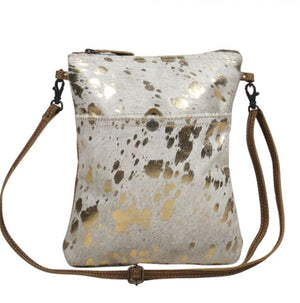 Gold Speckled Leather Small & Crossbody Bag by Myra Bag