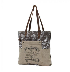 Old Key Linen Tote Bag by Myra Bag