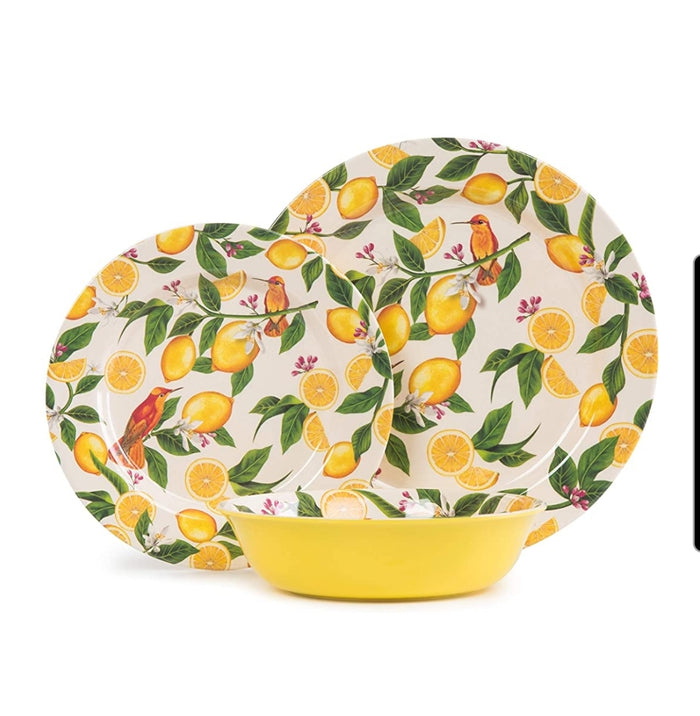 Lemon Melamine Dinnerware Set for 4