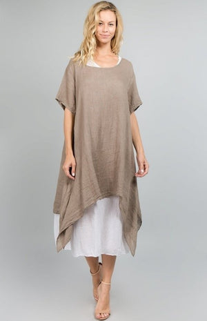 Assymetrical cotton linen dress - one size