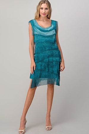Turqouise layered Italian silk dress