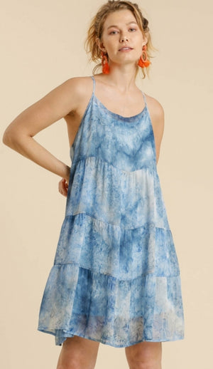 Blue tie dye dress with metallic threading
