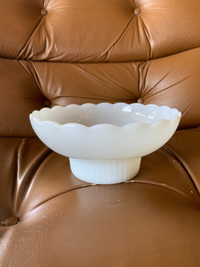 Short Scalloped Milk Glass Bowl- E.O. Brody