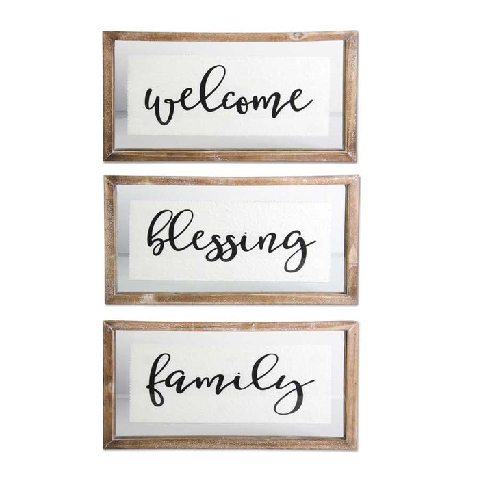 Wood Framed Glass Sign - welcome blessing family