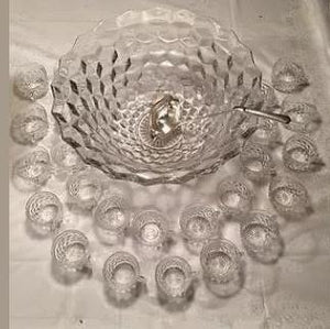 Midcentury Crystal Punch bowl w/20 mugs