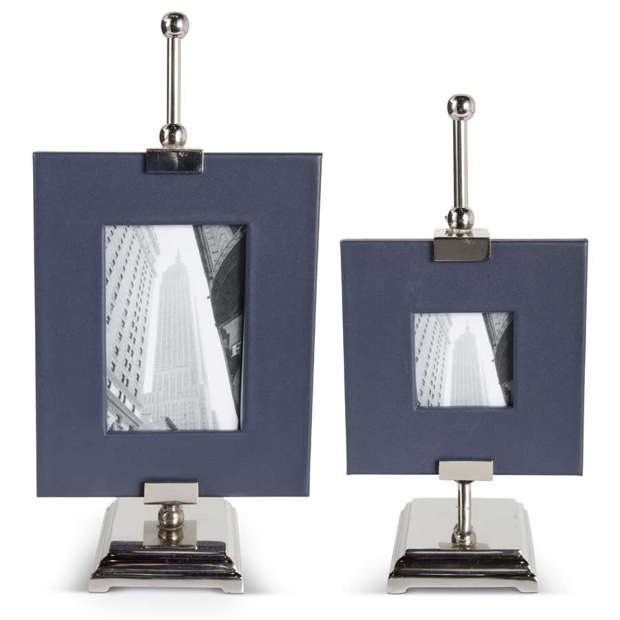 Navy Blue Leather Frame on Silver Easel