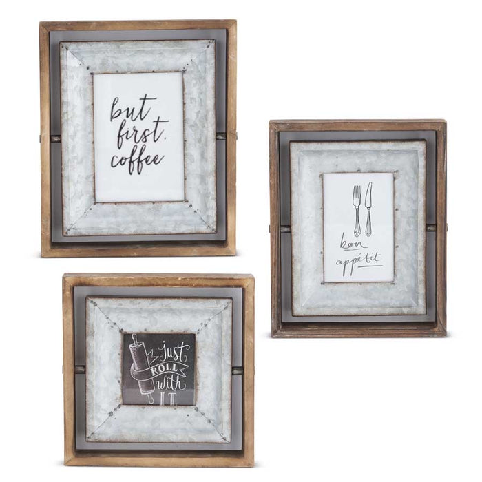 Photo frame - wood and tin