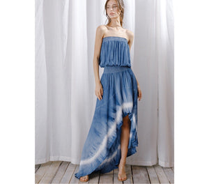 PRE-ORDER Sleeveless Blue tie-dye maxi dress