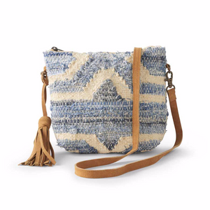 Woven Denim Handbag with Leather Tassel