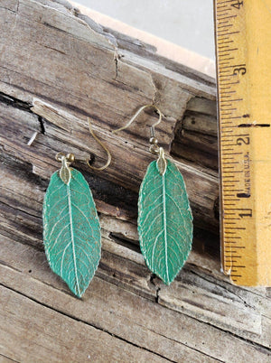 Green Leaf earrings handmade by Anni Frohlich
