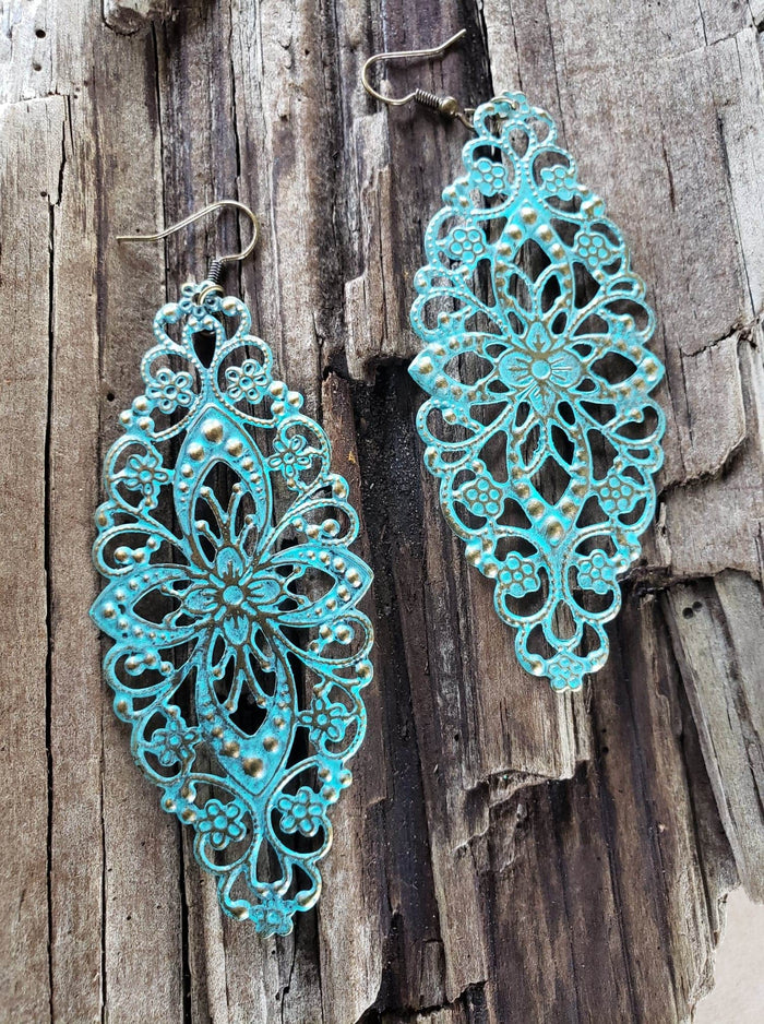 Long Turquoise Filigree earrings handmade by Anni Frohlich