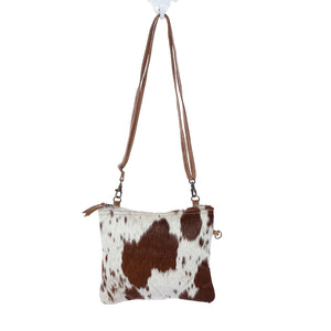 Myra White and Brown Shade Bag - cowhide