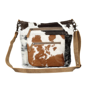 Myra Double Zipper Hairon Shoulder Bag - cowhide