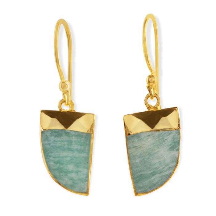 Amazonian and gold drop earrings