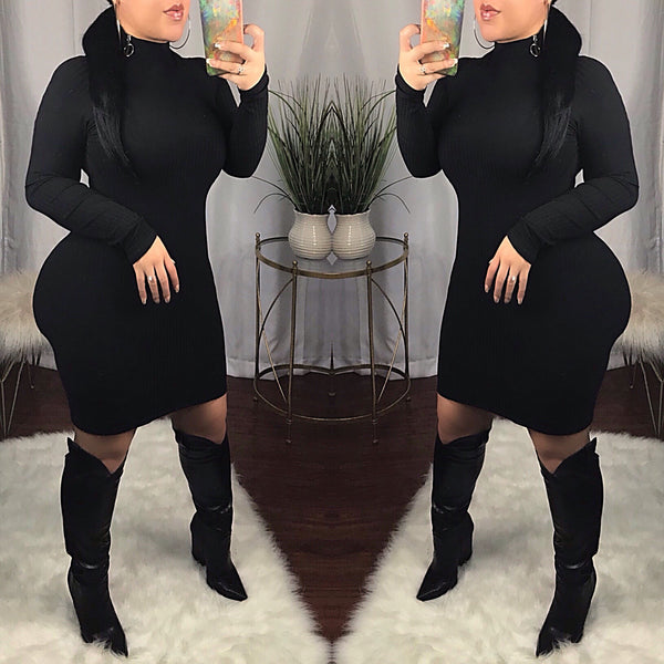 Black Side Neck Zipper Ribbed Dress