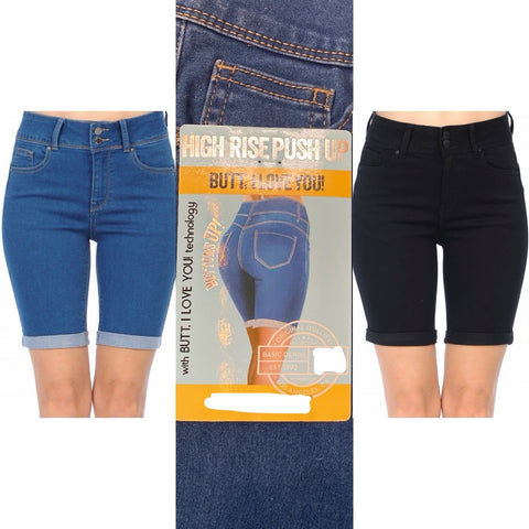 Push Up High Rise Butt Lifting Bermuda Shorts
