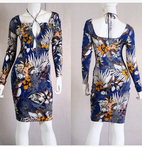 Azul Floral Leaf Print Dress