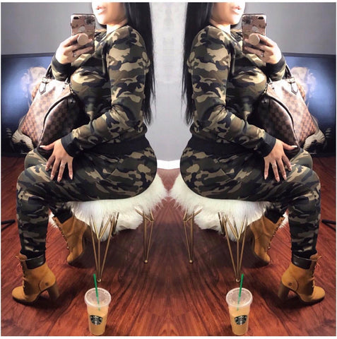 Camo 2 Piece Sweat Suit Set