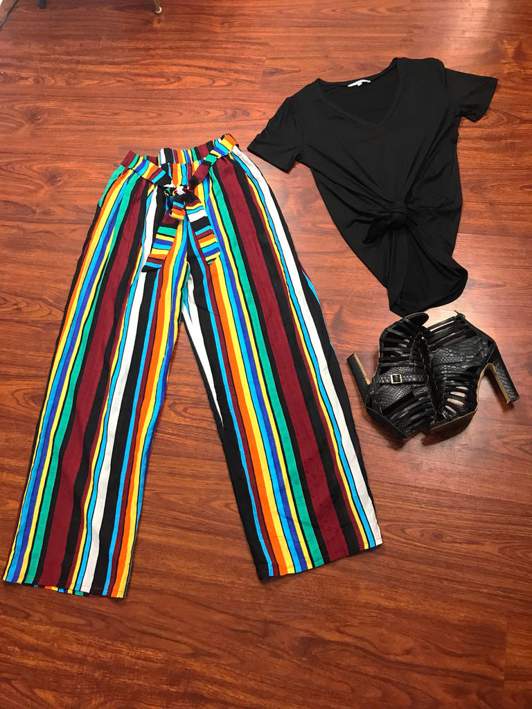 Clara Striped Tie Waist Pants