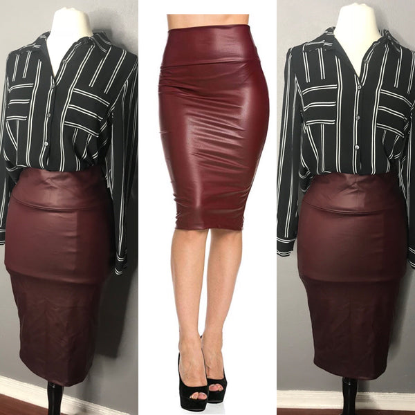 Wine Faux Leather Skirt