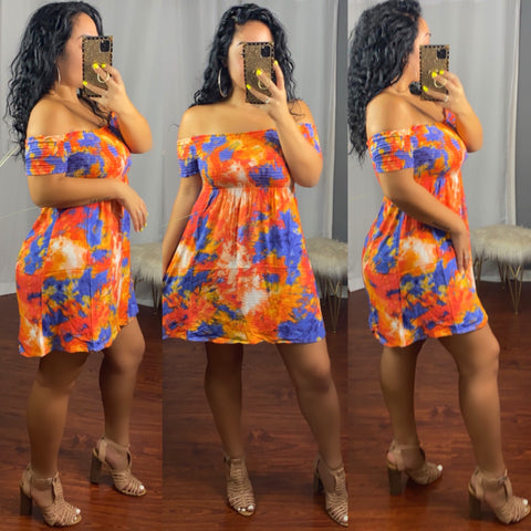 Babydoll Off Shoulder Tie Dye Dress (Orange/Eclipse)