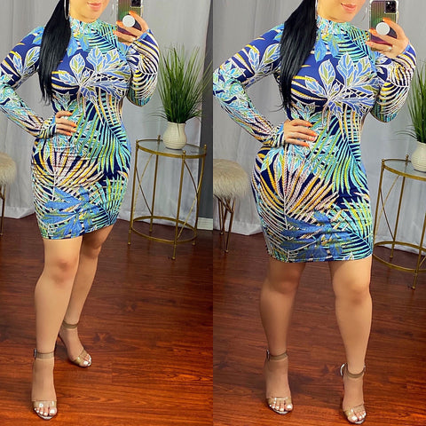Jade Blue Print High Neck Dress