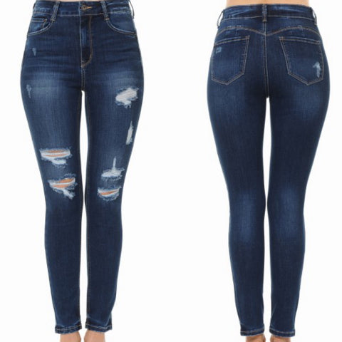 Push Up Dark Wash High Rise Destructive Ankle Skinny Jeans