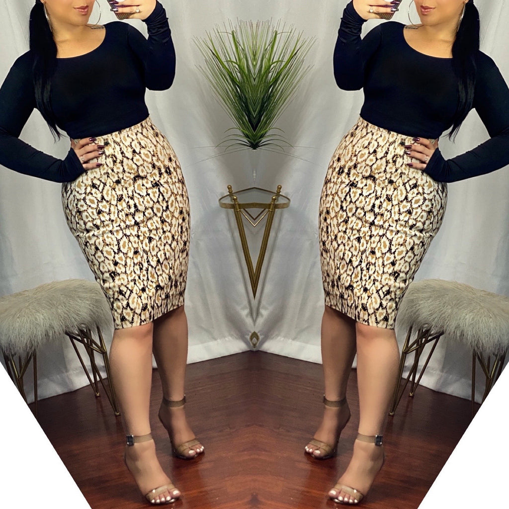 Cheetah Print Bandage Skirt