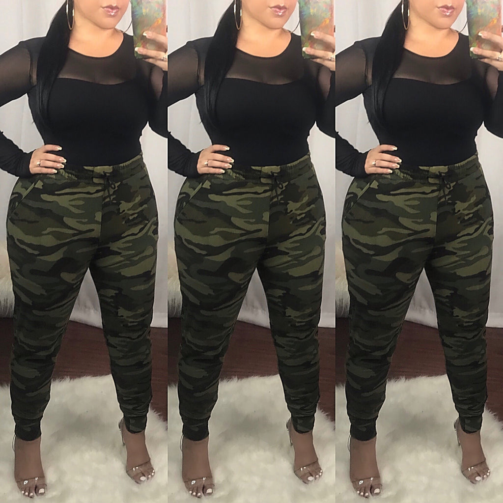 Green Boot Camp Camo Joggers