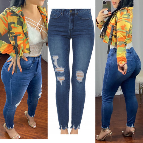 Push Up High Rise Destructive Hem Ankle Medium Wash Skinny Jeans