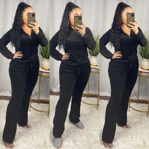 Black Velour 2 Piece Set