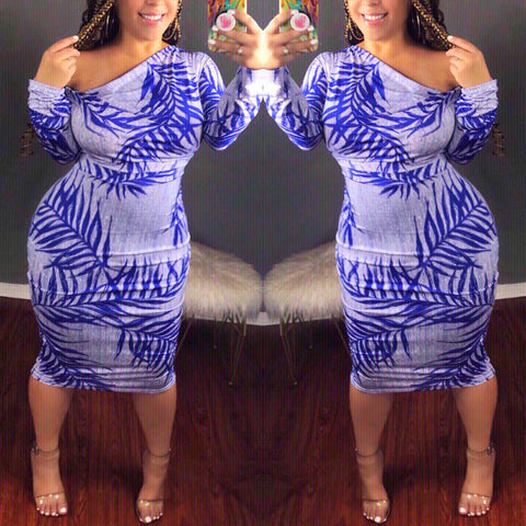 Viviana Blue Print Midi Dress