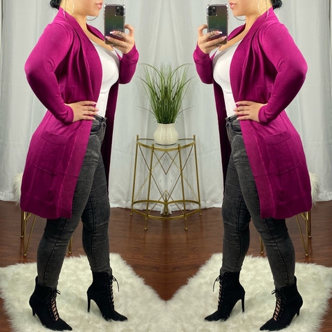 Magenta Basic Long Knit Cardigan
