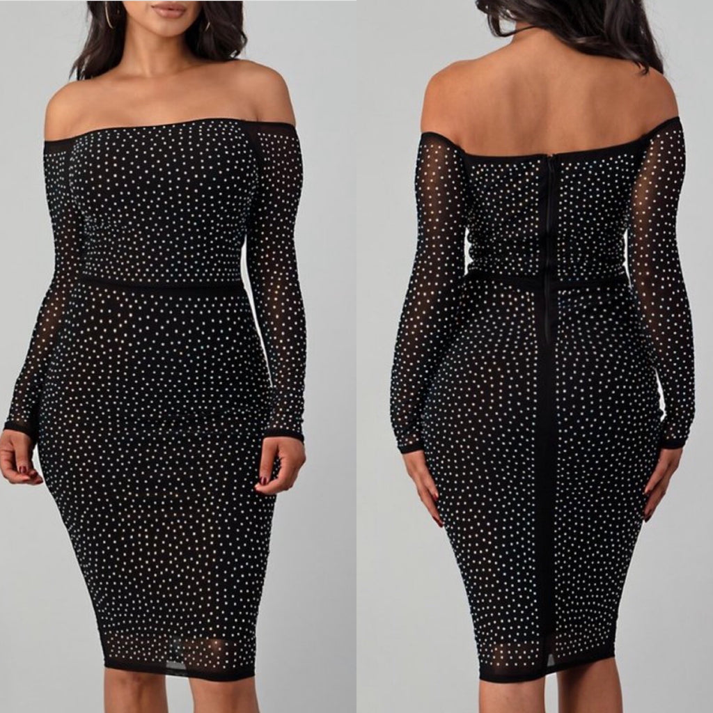Diamond Off Shoulder Mesh Rhinestone Dress