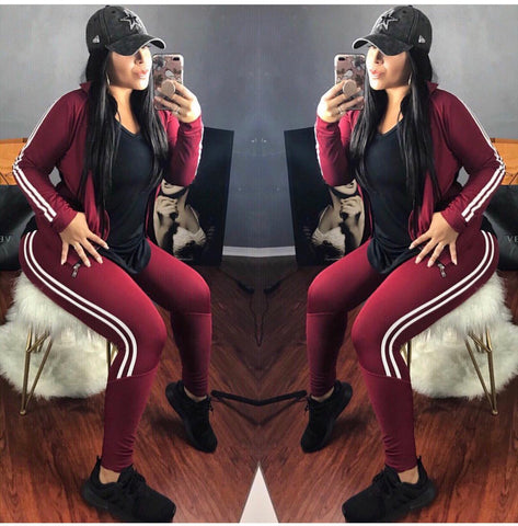 Burgundy Tracksuit Set