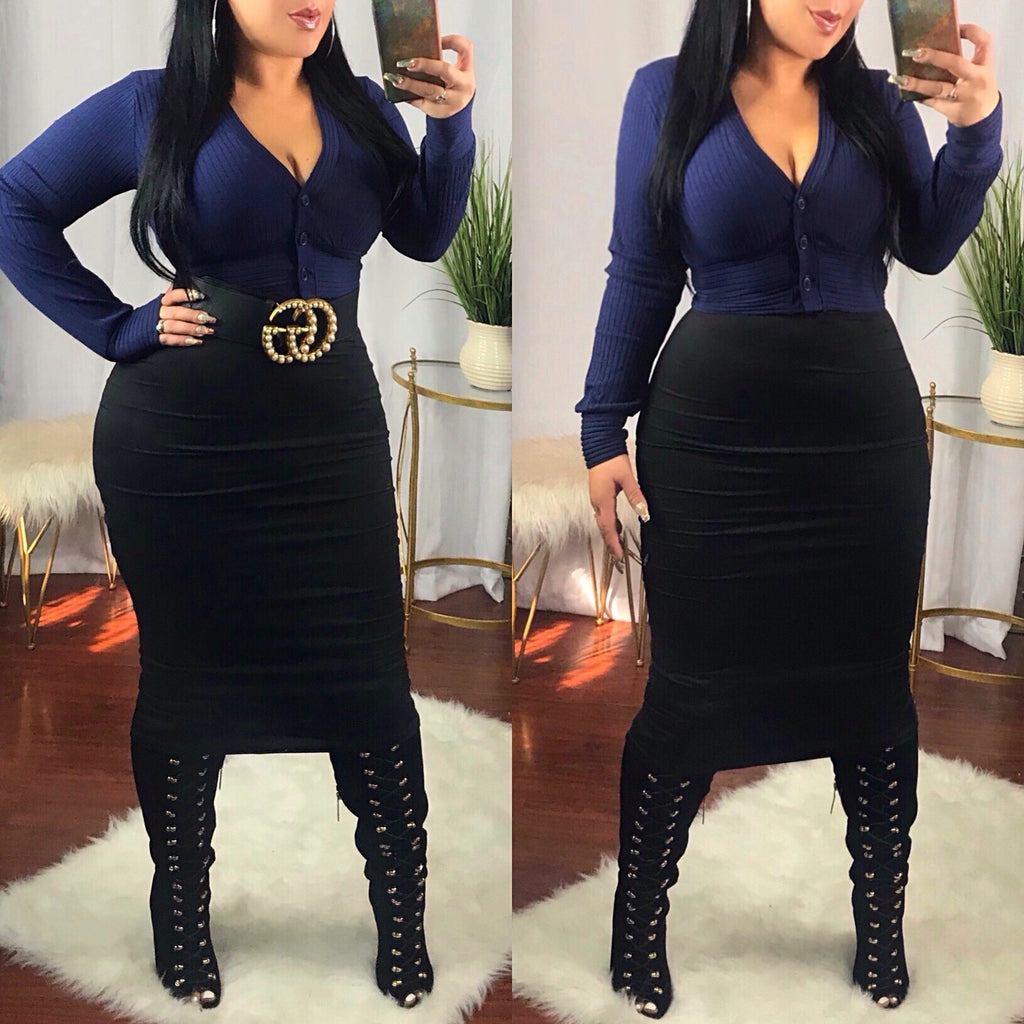 Black High Waist Pencil Skirt