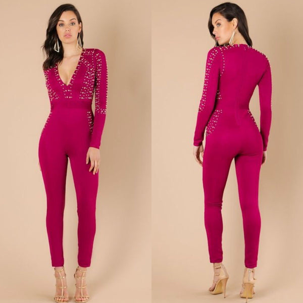Wine Bandage Studded Jumpsuit