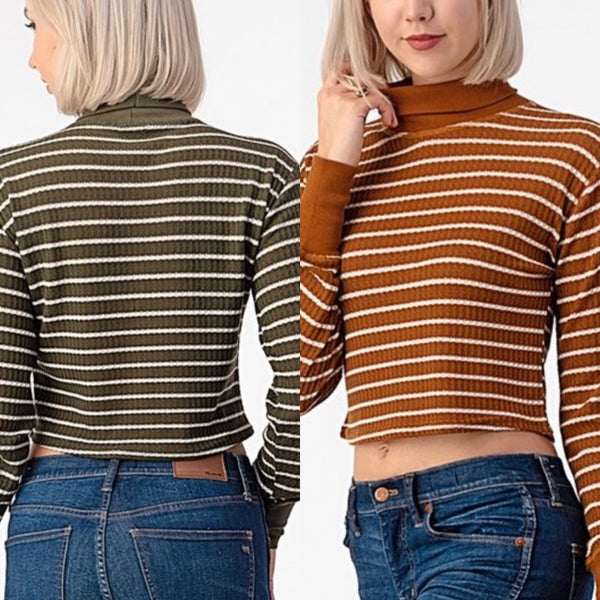 Striped Ribbed Knit Turtleneck Tops