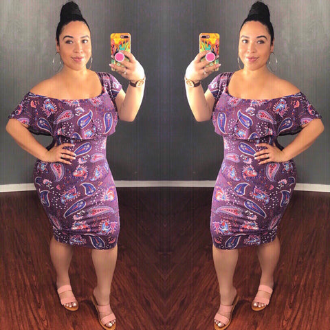 Purple Paisley Off Shoulder Midi Dress