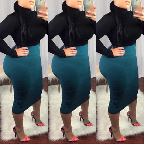 Teal High Waist Pencil Skirt